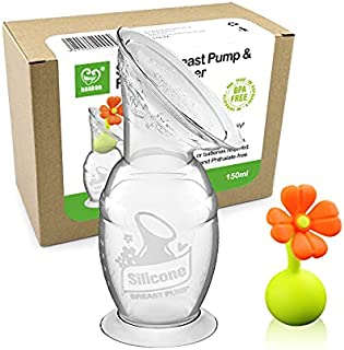 Haakaa Manual Breast Pump with Suction Base Milk Saver | for Breastfeeding | with Leak-Proof Stopper Gift Box (Orange/Whit...