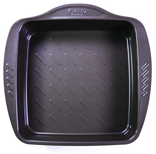 Pyrex Fuente Cuadrada 24X24Cm Asimetria, Acero, Negro, 1.71 cm