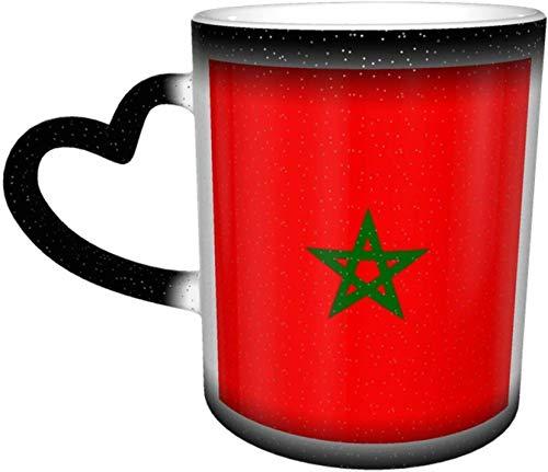 Bandera de Marruecos Taza que cambia de color sensible al calor en el cielo Tazas de café Taza de cerámica Regalos personalizados para amantes de la familia Amigos