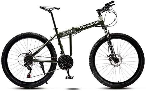 Faltbares Mountainbike für Männer Damen 21-Gang-Fahrrad mit hohem Kohlenstoffstahlrahmen Vollgefederte Doppelscheibenbremse Adult Offroad Mountainbike-Armeegrün_26 Zoll