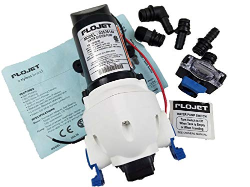 Fantastic Prices! 12 Volt FLOJET Water Pump & Strainer 2.9 GPM Triplex rv Marine shurflo 03526-144