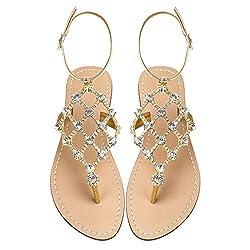 Gold Gladiator Cross Tie Flat Sandals