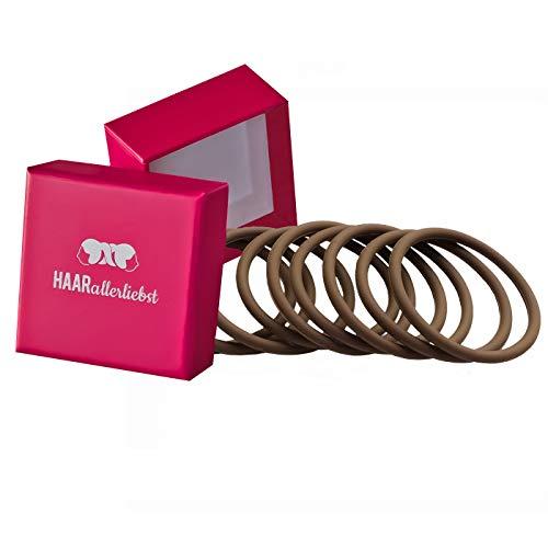 HAARallerliebst Silikon Haargummis (9 Stück | braun | 5cm) inkl. Schachtel zur Aufbewahrung (Schachtelfarbe: pink)