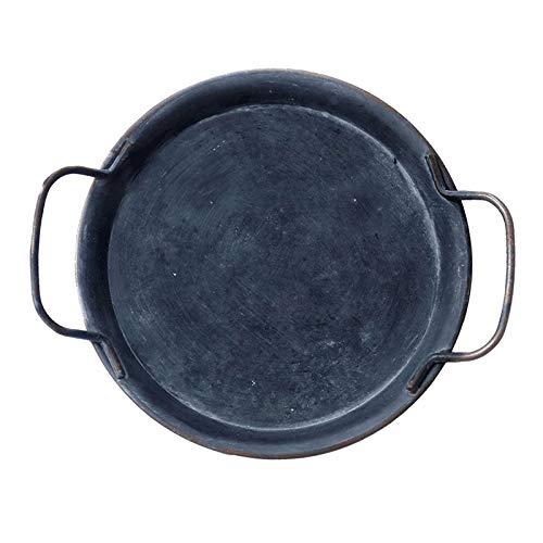 #N/a Vajilla Placa de Metal Retro con Asas Vajilla para Dulces, Queso, Pan, Café, Té - S, tal como se describe