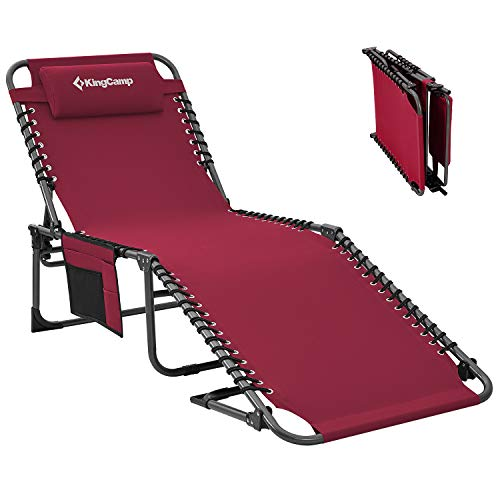KingCamp 4-Fold Red Folding Outdoor Chaise Lounge Chair for Beach, Sunbathing, Patio, Pool, Lawn, Deck, Portable Lightweight Heavy-Duty Adjustable Camping Reclining Chair with Pillow