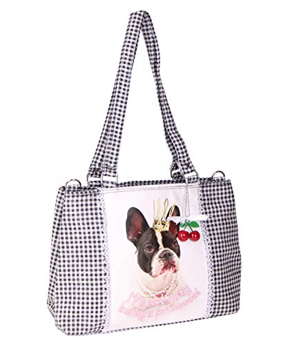 SugarShock Damen Handtasche Panlu French Bulldog Gingham, Farbe:schwarz weiss