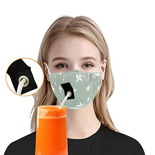 Sale!! GGGG Reusable Bandanas w/ Straw Hole, Washable Dustproof Face Mouth Breathing for Kids Childr...