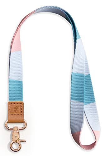 SENLLY Umhängeband Schlüsselband Neck Lanyard strip mit Karabinerhaken und echtem Leder, für ID Badge Card Holder, Ausweishülle, Schlüssel, Mobile Handys Telefon (MistyRose)