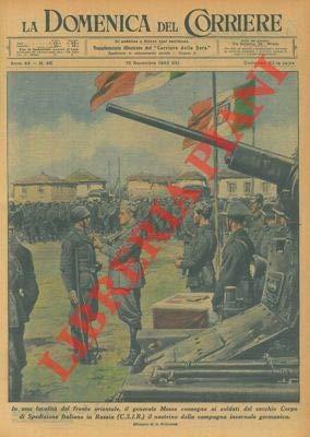 Il generale Messe consegna ai soldati del vecchio Corpo di Spedizione Italiano in Russia il nastrino della campagna invernale germanica.