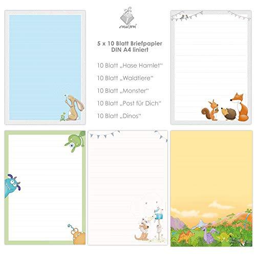 niedlicher BRIEFPAPIER-MIX 5 x 10 Blatt DIN A4 für Kinder mit Linien insg. 50 Blatt/Briefpapier Kinder/Briefpapier für Jungs und Mädchen