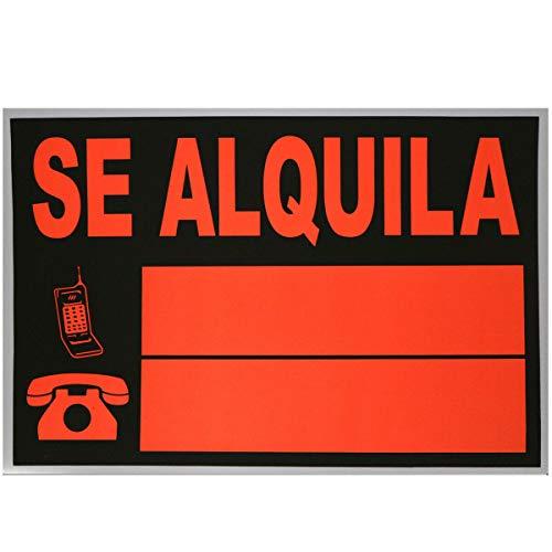 Cartel de SE ALQUILA, ideal para inmobiliarias, para poner 2 teléfonos. COLOR NARANJA Y NEGRO. TAMAÑO: 50 x 35 cm.