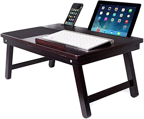 Sofia + Sam Multi Tasking Laptop Bed Tray - Supports Laptops Up to 18 Inches - Walnut (Left Handed Tray)