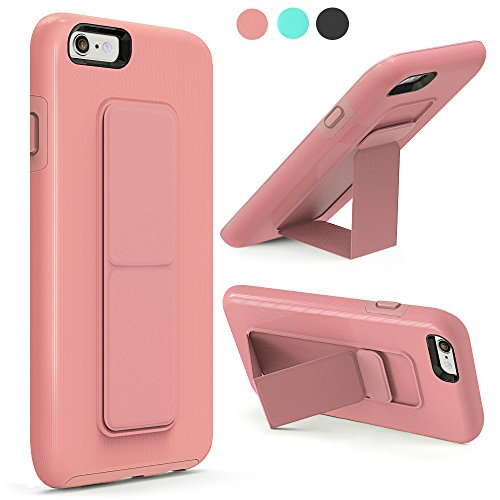 iPhone 6S Case, iPhone 6 Case, ZVEdeng Shockproof Vertical and Horizontal Kickstand Hand Strap Grip for Magnetic Car Mount Dual Layer Anti Drop Case Cover for Apple iPhone 6 / 6s 4.7 Inch Rose Gold
