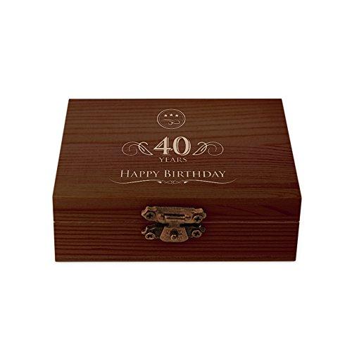 AMAVEL Kit 9 Pietre Raffreddanti da Whisky con Scatola in Legno Scuro, Incisione per Il 40º Compleanno, Happy Birthday, Accessori Degustazione Casa