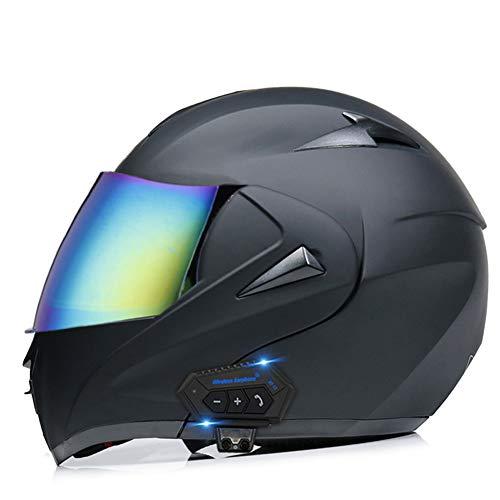 OPRG Motocross Bluetooth Helmet Flip Up Double Visor Modular Front Motorcycle MTB Helmet Anti-Fog ECE/DOT Black,A,XS(53~54CM)
