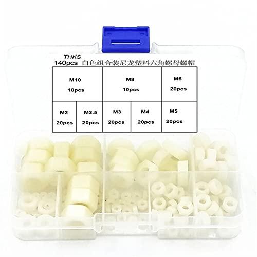 MXNH3 140Pcs Nylon Hex Nuts Assortment Kit Black/White M2- M10- Black Hardware Assortment Kit