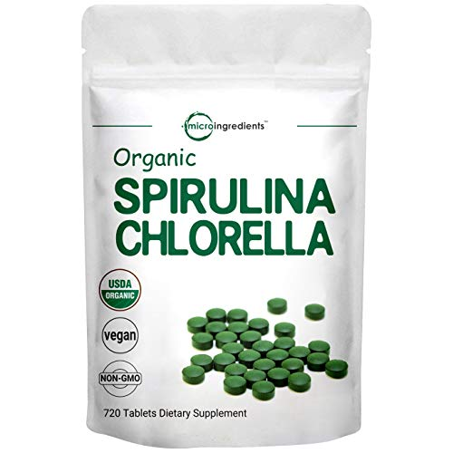 Organic Chlorella Spirulina Tablets, 3000mg Per Serving, 720 Counts, 120 Servings (4 Months Supply), Rich in Prebiotics, Immune Vitamins, Fiber, Proteins, No GMOs, Vegan