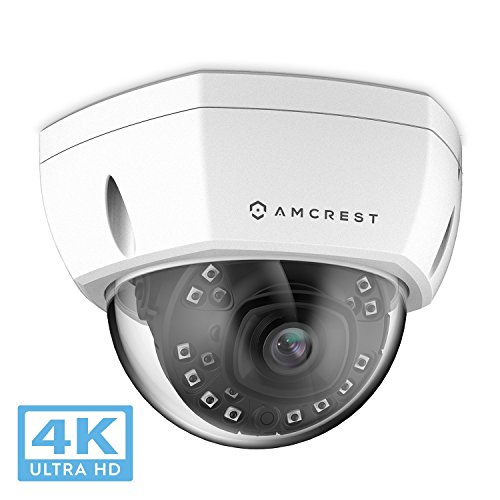 Amcrest UltraHD 4K (8MP) Outdoor Security POE IP Camera, 3840x2160, 98ft NightVision, 2.8mm Lens, IP67 Weatherproof, IK10 Vandal Resistant Dome, MicroSD Recording, White (IP8M-2493EW)