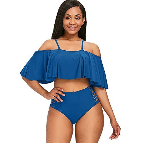 ZEZCLO vrouwen oversized sexy tweedelig schoudervrij ruches volant crop bovenstuk met print uitgesneden bikini