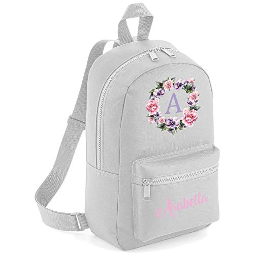 Flower Circle Custom Initial with Name Pocket Childrens Lunch Girls School Backpack Bag Girls Rose Cute Rucksack Bags Pretty Toddler Gym Sack Floral (Light Grey, One Size)
