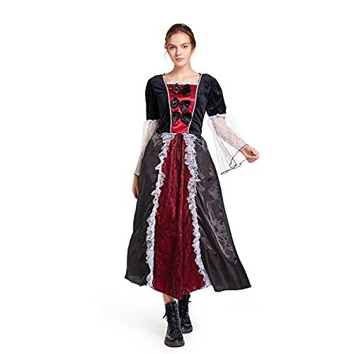 Kahbin Women's Royal Vampire Dress Halloween Gothic Vampiress Cosplay Costume Party Outfits (Black, L)