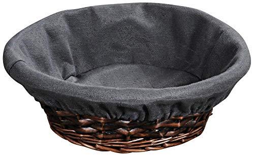 Panera redonda de mimbre con tela, 30 x 30 x 9 cm