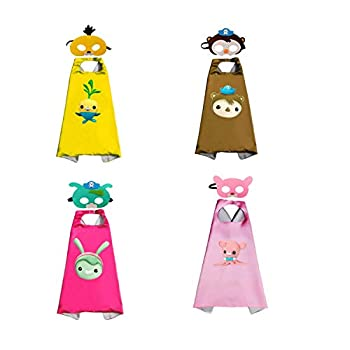 Octonauts Cape and Mask Toy,Cosplay Cape Toy,Halloween Cosplay,Party Cosplay Cape ,Outdoor toys, Gift for kids  4 PCS   B