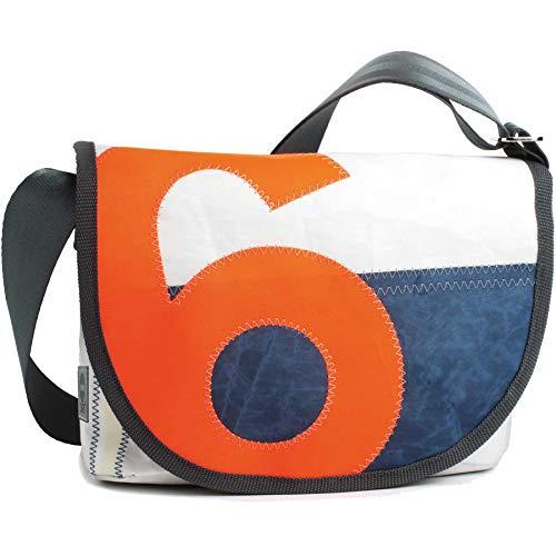 360° Grad Umhängetasche Damen, Tasche aus Segeltuch und Tweed Perle Satchel mit Zahl Neon Orange; wetterfest, maritim