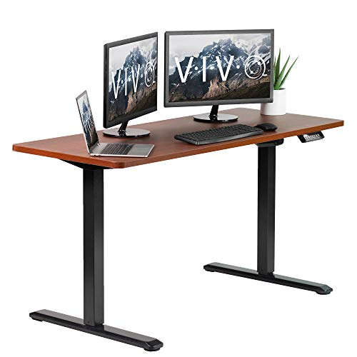 VIVO Electric Height Adjustable 60 x 24 inch Memory Stand Up Desk, Dark Walnut Solid One-Piece Table Top, Black Frame, Standing Workstation with Preset Controller, DESK-KIT-1B6D