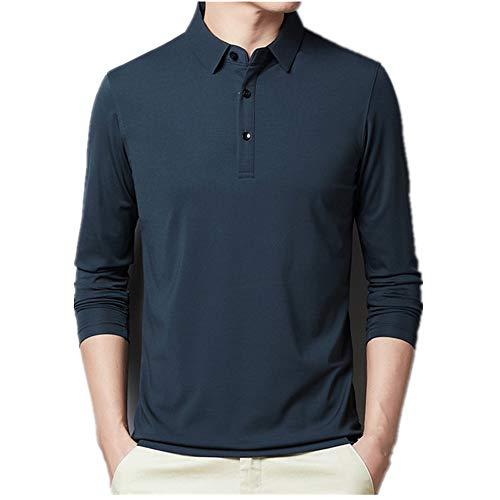 Polo de los Hombres de Algodón de Manga Larga Polo Camisas Masculino Clásico Colores Sólidos Slim Fit Camiseta de Homme Ropa de los Hombres