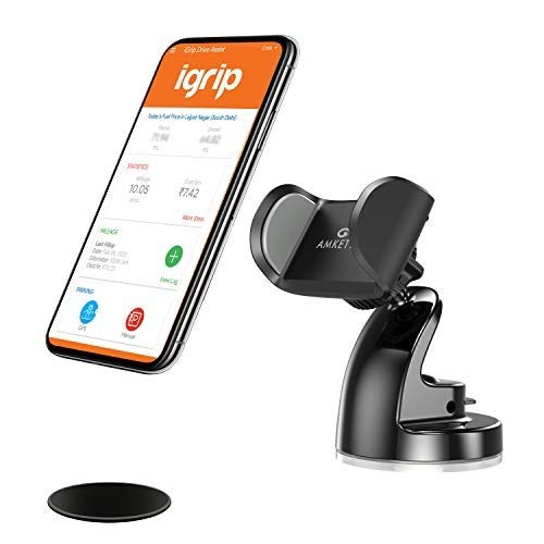 Amkette iGrip Tuff Dashboard and Windshield Car Mobile Holder for All Smartphones with Sticky Gel Suction and 360 Degree Rotation (Dashboard Pad Included) (Black)