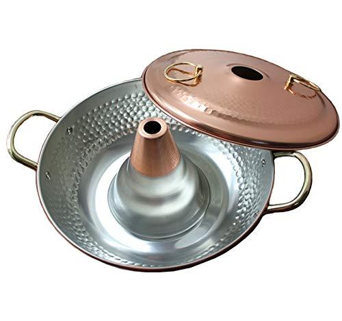 ZOUJUN Antique Copper Arts de la Table en Acier Inoxydable Hot Pot Petit Hot Pot Main Cuivre Hot Pot d'extérieur Poêle Vieux Beijing Chinese Grand Hot Pot 26 * 12cm (Color : B)