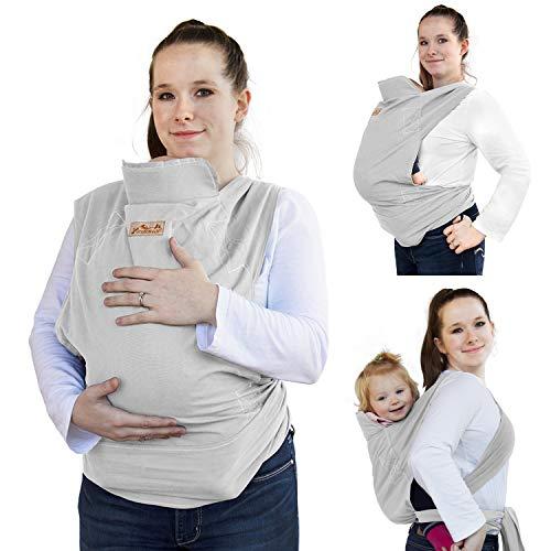 Viedouce Babytrage Ergonomische,Baumwolle Babytragetuch, Leicht atmungsaktiv Babybauchtrage Geeignet für Neugeborene, Kleinkinder von 3-36 Monaten (Beige)