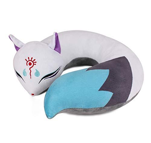 Anime Fox Spirit U-Shaped Neck Pillow Plush Toy Comfortable Luggage Pillow for Airplanes Car Train