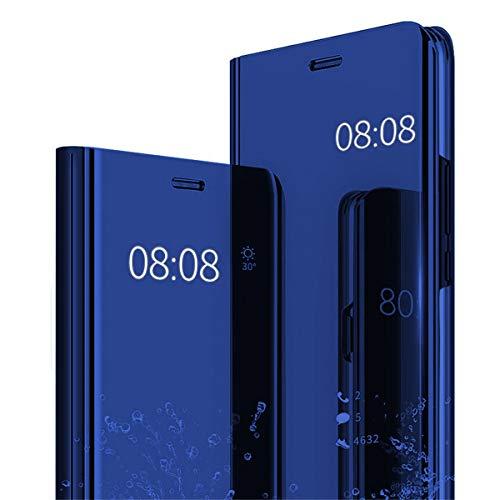 Riyeri Hülle Compatible with Samsung Galaxy A50 Hülle Spiegeln 360 Protection Schutzhülle Flip Tasche Kratzfeste Standfunktion Bumper Samsung A50 Hülle 2019 (Galaxy A50, blue)