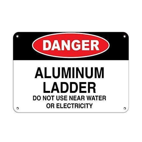Señal de advertencia Peligro Escalera de aluminio No usar cerca del agua...