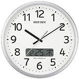 リズム時計工業(Rhythm) 掛け時計 電波時計 チャイム付き プログラムカレンダー01SR シルバー ф35.0×5.5cm 4FNA01SR19