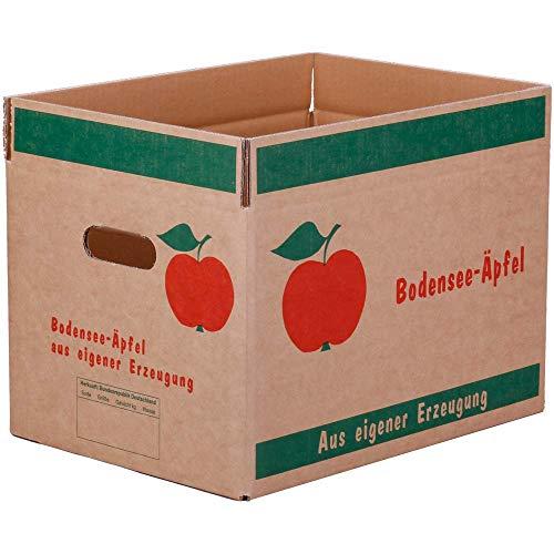15x Obstkarton Bodensee Äpfel, Wellpappe 2-wellig, Braun, 10 kg, 38x28x22,5 cm