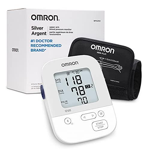 OMRON Silver Blood Pressure Monitor, Upper Arm Cuff, Digital...