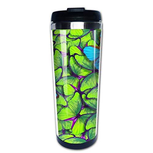 Vuelo de mariposas azules y amarillas brillantes, taza de viaje para café, tazas de café con tapas, taza de acero inoxidable para hombres y mujeres