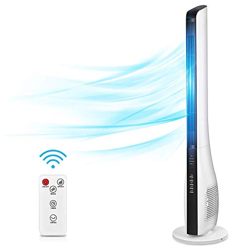 TRUSTECH Oscillating Tower Fan w/ Remote Control - 43Inch White Quiet Bladeless Whole-Room Cooling Fan w/ 3 Mode 3 Speed & 7.5H Timer, Air Circulator Standing Fan for Bedroom Living Room Office Home
