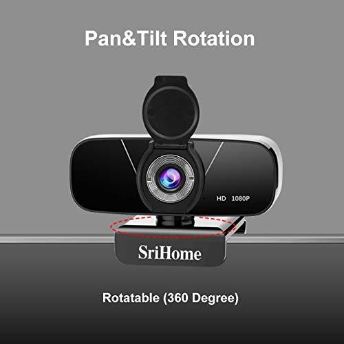 SriHome Webcam PC Full HD 1080P con Micrófono Estéreo, Webcam Portátil para PC, Webcam USB 2.0, Streaming Cámara Reducción de Ruido para Videollamadas, Grabación, Conferencias con Clip Giratorio miniatura