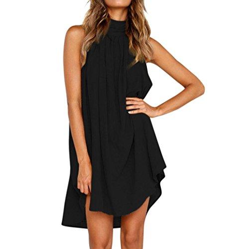VEMOW Sommer Herbst Elegant Urlaub Unregelmäßige Kleid Damen Lässig Täglichen Lose Strand Ärmelloses Party Kleid(Schwarz, 50 DE/XL CN)