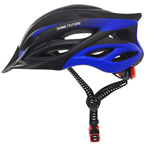 Fahrradhelm für Erwachsene, verstellbare leichte Fahrradhelme für Männer und Frauen, Rennrad- und Mountainbike-Helm mit abnehmbarem Visier und LED-Rücklicht (Schwarz + Blau-1)