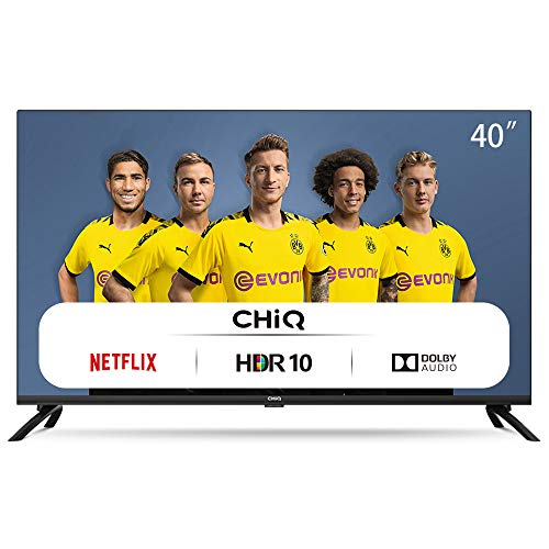 CHiQ Televisor Smart TV LED 40', Resolución FHD, HDR 10/HLG, WiFi, Bluetooth (Solo Auriculares y Altavoces), Netflix, Prime...