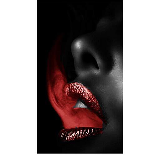 NIEMENGZHEN Drucken auf Leinwand Bilder Wandkunst Roter Rauch Mund Sexy Lippen Malen Nordic Style Leinwand Poster Für Wohnzimmer Wohnkultur 19,6