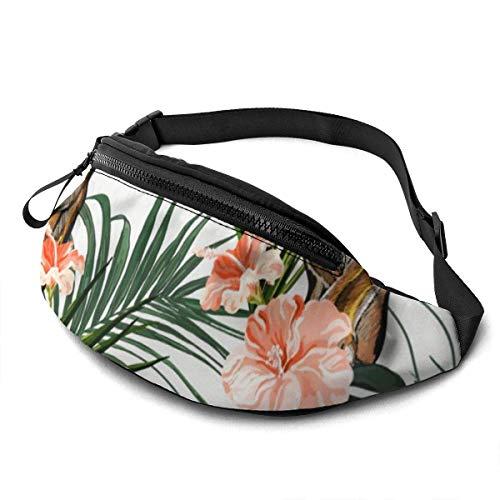 AOOEDM Beautiful Seamless Flowers and Tiger Fashion Casual Waist Bag Waist Bag Travel Bum Bags Running Bag for Men Women