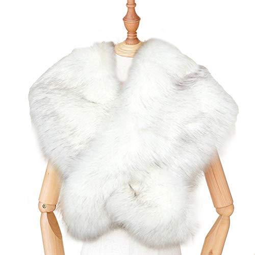 Chal Estola de Pelo Mujer, Cuello de Piel sintética, imitación de Boda, Bufanda de Piel sintética, Envoltura de Bufanda de Piel Artificial con mantón para Mostrar el Banquete de Boda
