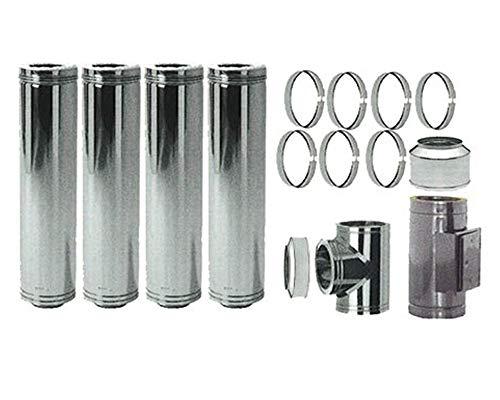 Edelstahl Schornstein Set 150mm Laenge ca. 8,515m zur Wandmontage 70-120mm Abstand verstellbar