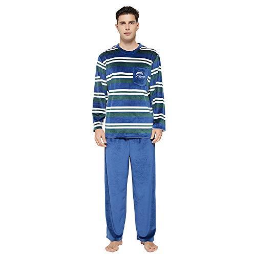 U2SKIIN Mens Pajama Set, Striped Pajamas for men Long Sleeve Sleepwear Warm Pjs Sets with Pockets Microfleece(Navy-Green Stripe/Navy, S)